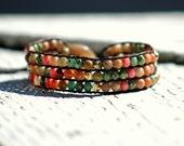 Painted desert, jasper and Czech glass triple cuff leather wrap bracelet