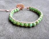Emerald, single leather wrap bracelet