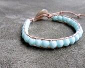 Baby Blue, single leather wrap bracelet