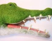 Needle felted Alligator Handpuppet