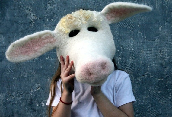 Needle felted cow mask