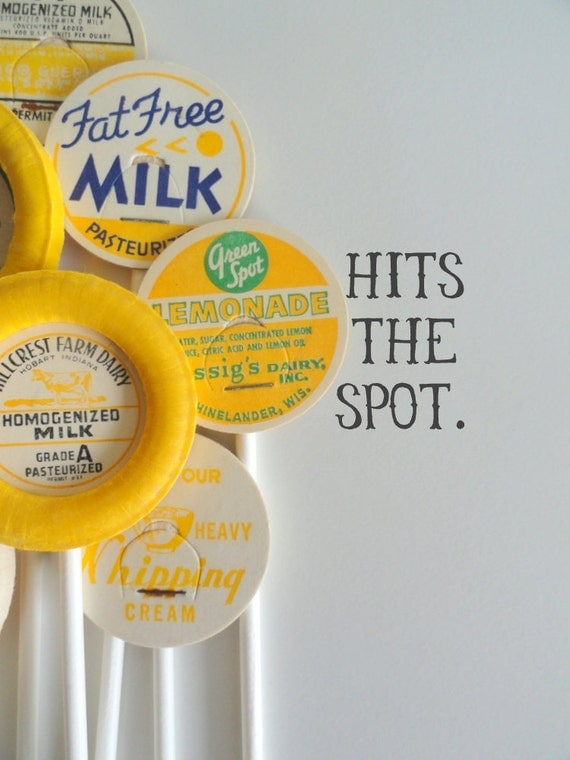 Stir Sticks - Vintage Milk Caps - Cupcake Toppers - 6 inches - Party Decor