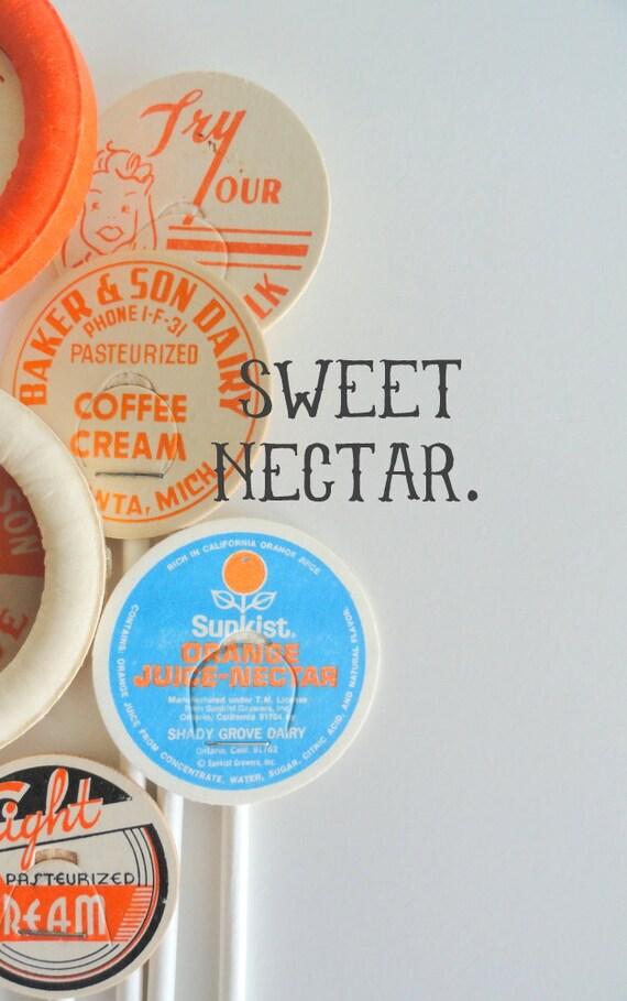 Stir Sticks - Vintage Milk Caps - Cupcake Toppers - 6 inches - Party Decor