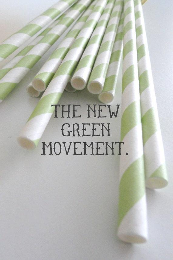 Stripe Straws - Green Stripe - Retro Paper Straws with circle toppers