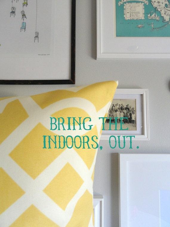 Designer Decorative Pillow - Indoor Outdoor Pillow - Yellow Geometric - 18 inches  - Throw Pillow
