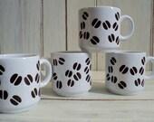 vintage set of 4 coffee bean espresso cups waechtersbach west germany
