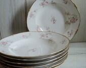 antique haviland limoges france set of 7 large rim soup bowls pink white apple blossoms gold daubs