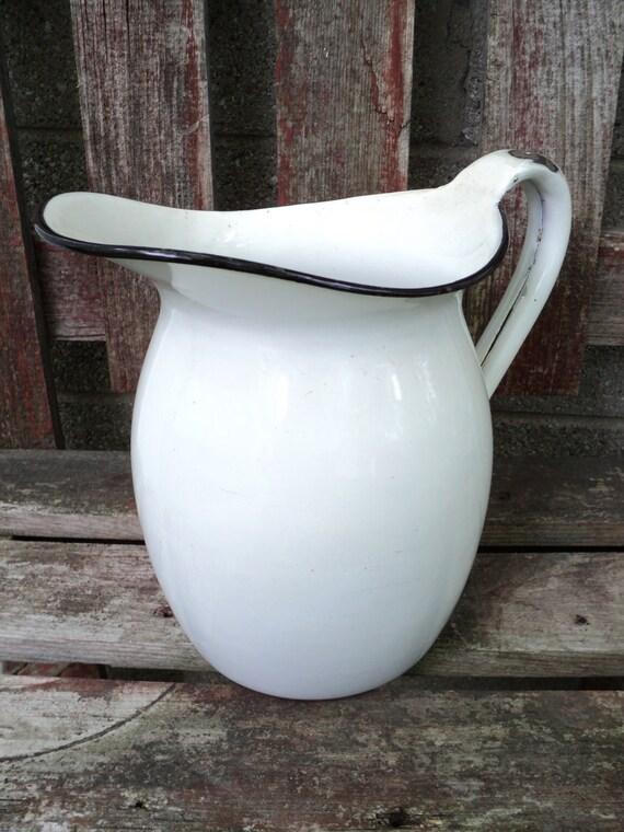 vintage white with black enamel metal enamelware graniteware gorgeous farmhouse pitcher