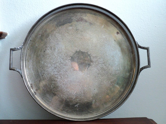 """vintage gorgeous old silver round reticulated serving tray 18"""""""