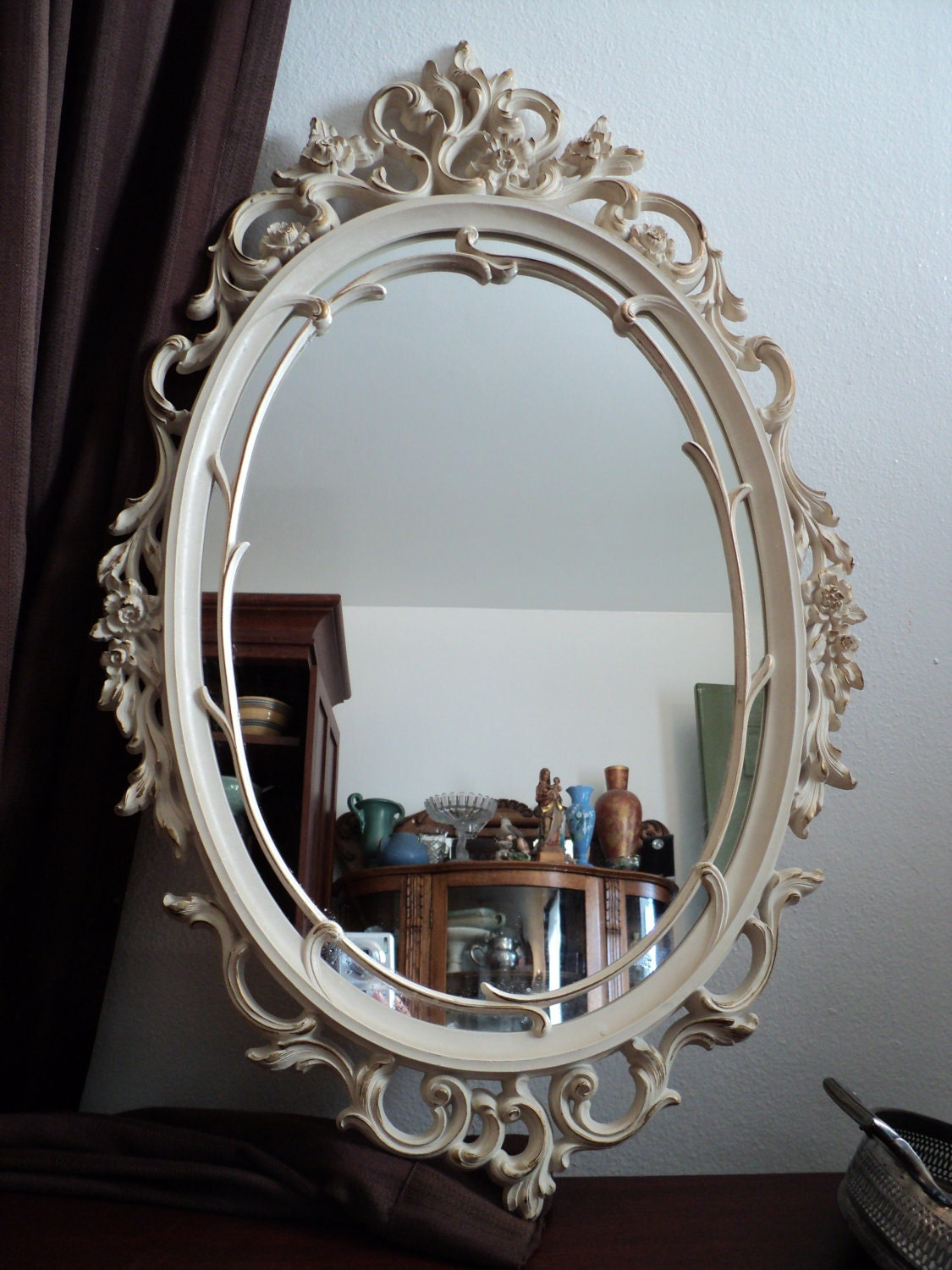 Gorgeous Ornate Floral Scroll Work White Syroco Wall Mirror