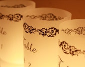 Table Numbers - Centerpieces - Luminaries - Table Markers - Vellum Candle - Table Decor - Wedding Decor - Party Decor - Elegant Black Scroll