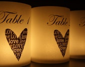 Table Numbers - Centerpieces - Luminaries - Table Markers - Candle Cover - Table Decor - Wedding Decor - Party Decor - Love Heart Shorties