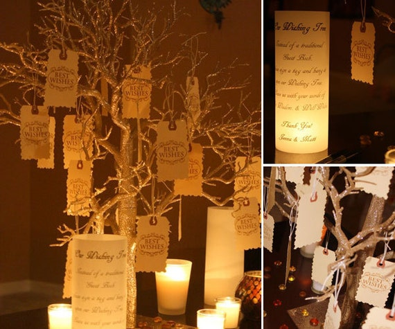 Unusual Wedding Guest Book Ideas: Wishing Tree Guest Book Alternative Centerpiece By