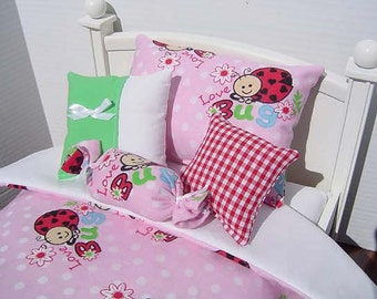 Doll Bedding 5 Pc Set for 18 Inch Dolls - Darling Ladybugs on Pastel Pink