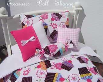 5 Pc Doll Bedding Set for AMERICAN GIRL or Other 18 Inch Dolls - Cupcakes and Flowers