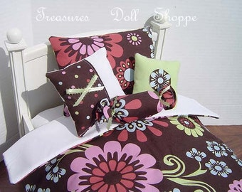 AMERICAN GIRL Doll Bedding 5 Pc Set for 18 Inch Dolls - Multi Flowers on Chocolate