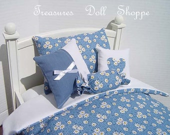 Doll Bedding 5 Pc Set for 18 Inch Sized Dolls - Petite White Daisies on Blue
