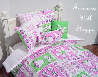 Doll Bedding 5 Pc Set for 18 Inch Dolls - Tulip Floral