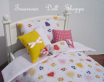SALE - Doll Bedding 5 Pc Set for 18 Inch & Other Dolls - Polka Dotted Hearts