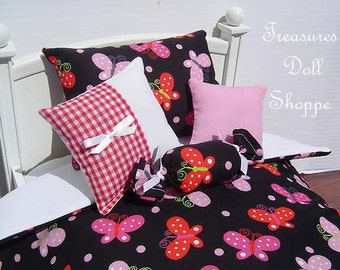 Doll Bedding 5 Pc Set for 18 Inch Sized Dolls  - Pink and Red Butterflies on Black