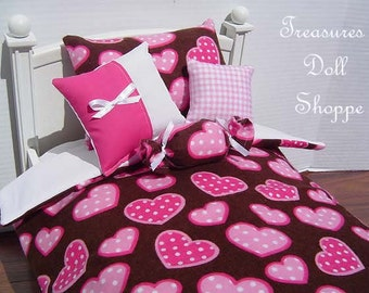 Doll Bedding 5 Pc Set for 18 Inch Dolls - Pink Hearts on Chocolate
