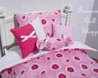 Doll Bedding 5 Pc Set for 18 Inch Dolls - Ladybug Ladybug