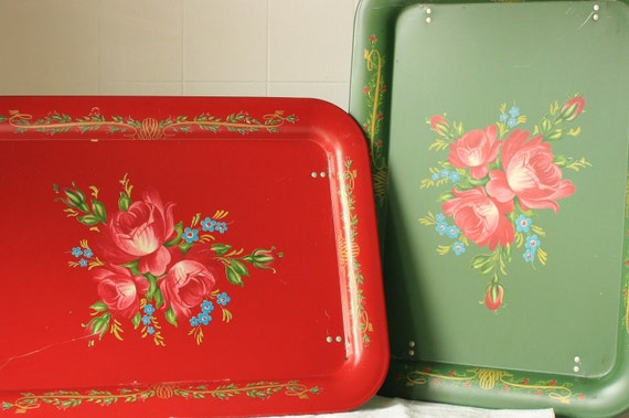 set of two vintage metal trays with flowers