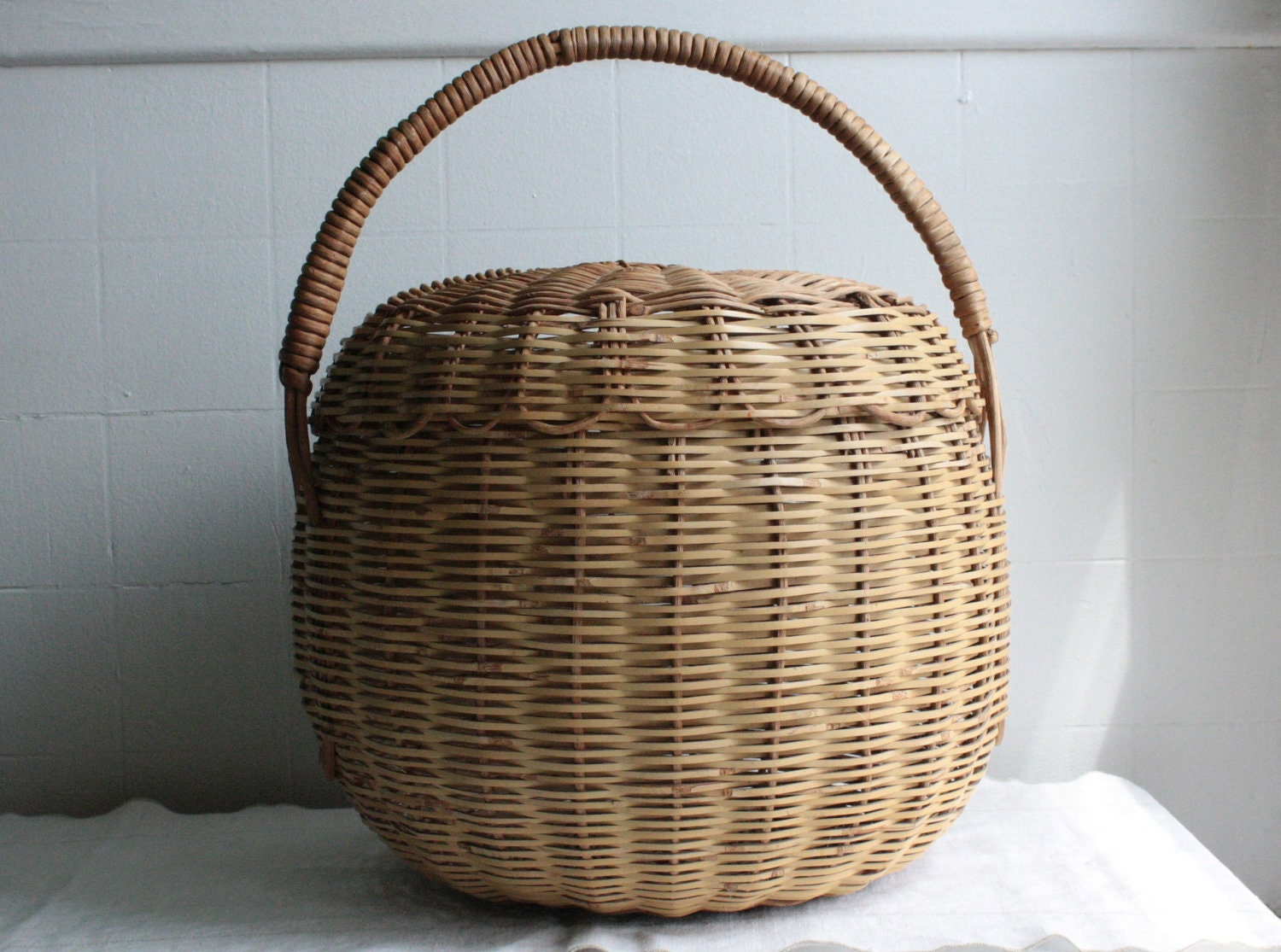 Antique Wicker Basket Large Round With Lid
