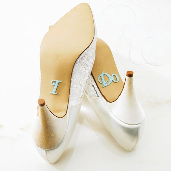 Glitter I DO Shoe Stickers in Light Blue AB