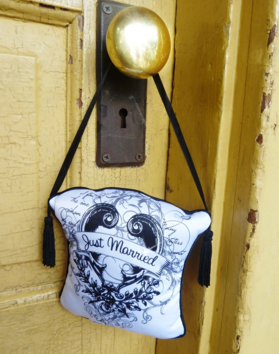 Just Married - Do Not Disturb door knob hanger sign - embellished with Swarovski crystals