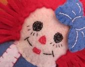 Handmade Felt Raggedy Ann Ornament / Gift Tag
