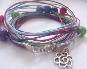 COLORFUL wrap bracelets of palm seeds (282)