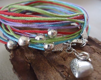 COLORFUL wrap bracelets from cotton strings and silver plated beads (197)