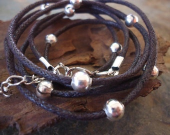 GLITTER ROAD in dark brown  wrap bracelet with silver beads (161)