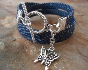 JEANS fabric wrap bracelet with butterfly 462