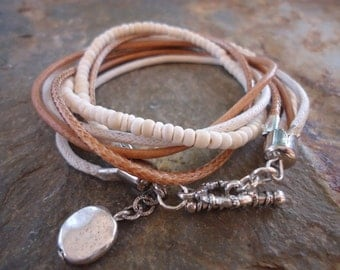 MEXCLA IN CAMEL leather Wrap Bracelet with coconut Beads