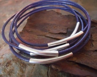 PURPLE LEATHER BANGELS Bracelets set of 5 (87)