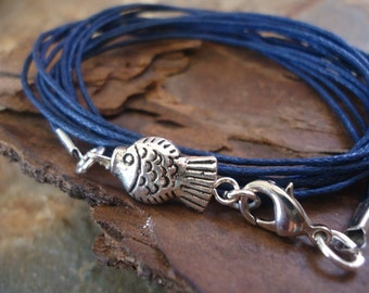 BLUE FISH wrap bracelet with tibean silver in blue 159