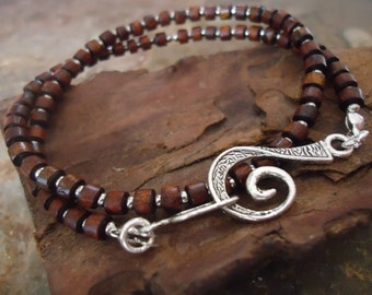 SPIRAL CLOSURE wrap bracelet made of wood and silver beads (109)