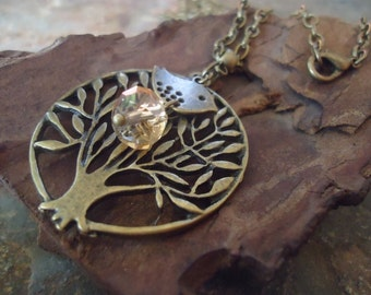Bronze TREE & PIEPS and CRYSTAL long vintage chain (91)