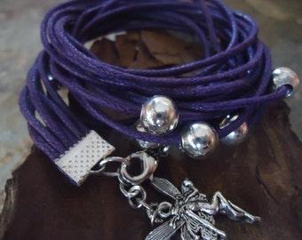 PURPLE & METAL wrap bracelet with elf (486)