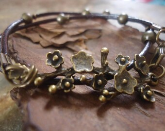 BRONZE BRANCH Leather Wrap Bracelet & branch      (650)