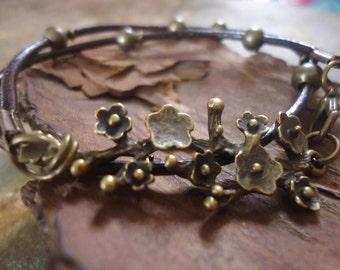 BRONZE BRANCH Leather Wrap Bracelet & branch      (650)