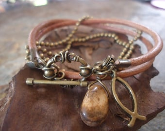 CAMEL LEATHER and JASPER and  ball chain bracelet (250)