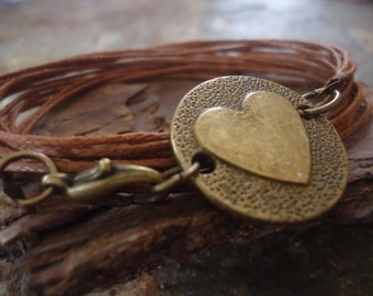 BRONZE HEART wrap bracelet in bronze with straps
