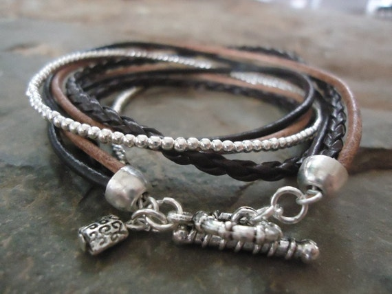 Material mix in beige - brown Wrap Bracelet with silver beads  (7)