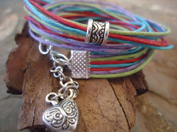 SPRING & SUMMER wrap bracelet with heart and spacer (465)