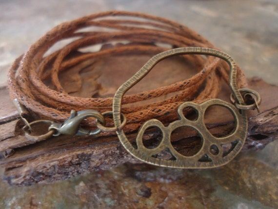 ABSTRACT IN BRONZE wrap bracelet with cotton bands (167)
