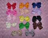 Pick One Large Boutique Style Grosgrain Ribbon Bow Hair Clips for Girl or Baby Headband or Hat Add Headband For A Dollar More