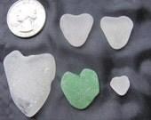 5 Seaglass Hearts